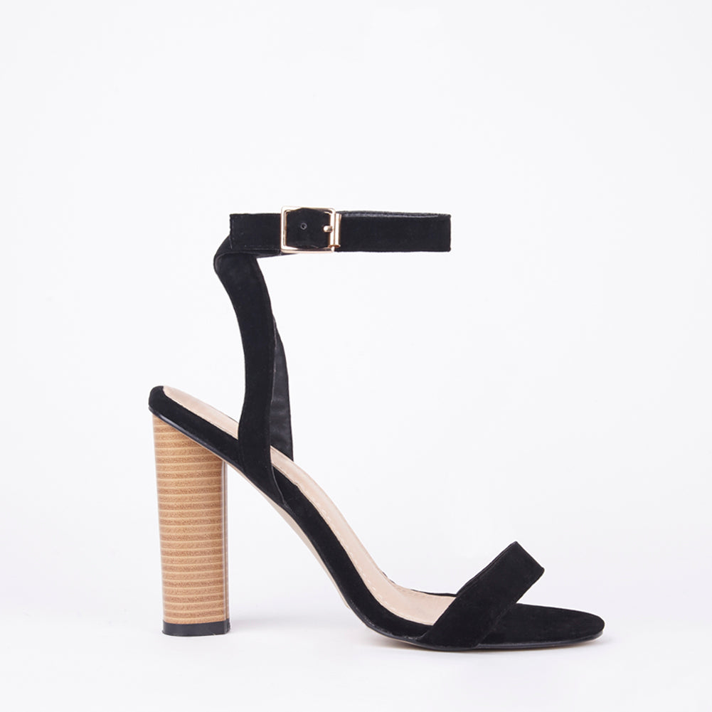 Rosie Strappy Barely There Wooden Heels In Black