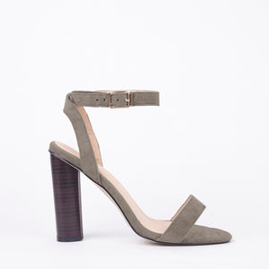 Rosie Strappy Barely There Wooden Heels In Khaki
