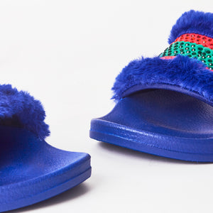 Roxy Blue Faux Fur Slider