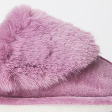 Load image into Gallery viewer, Fluffy Purple Indoor Snug Mule Slippers