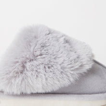 Load image into Gallery viewer, Fluffy Grey Indoor Snug Mule Slippers