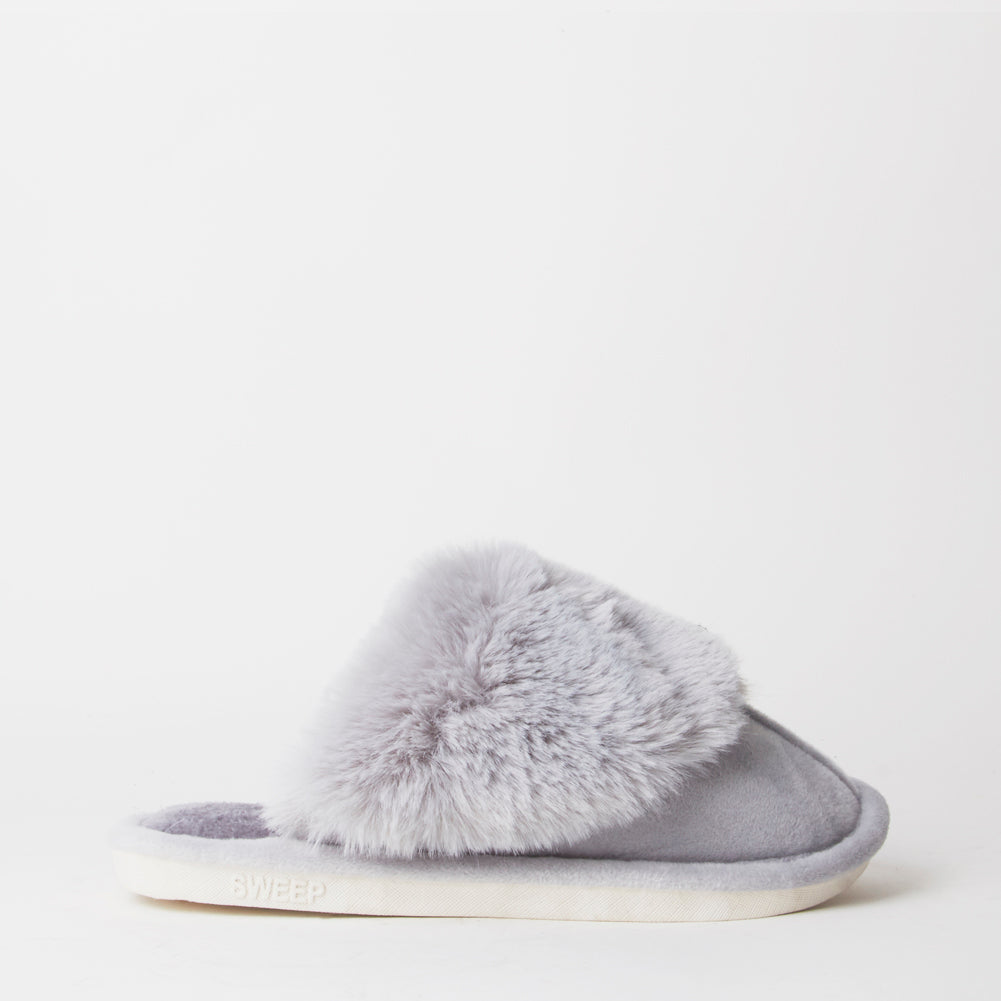 Fluffy Grey Indoor Snug Mule Slippers