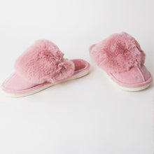 Load image into Gallery viewer, Fluffy Pink Indoor Snug Mule Slippers