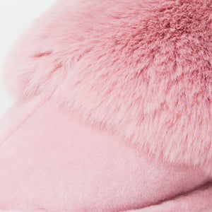 Fluffy Pink Indoor Snug Mule Slippers