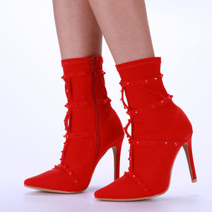Danni Pointed Heel Studs Red Ankle Boots
