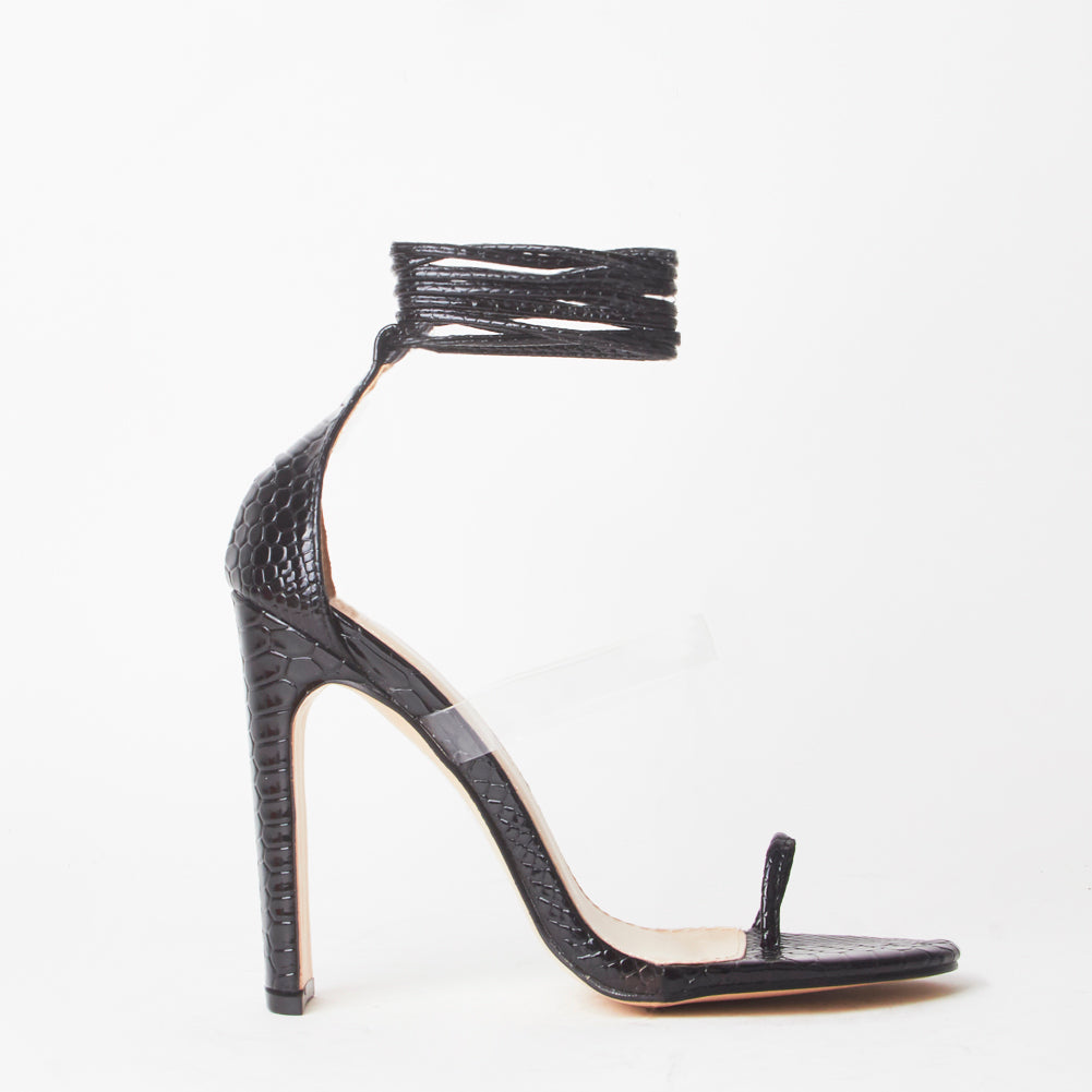 Sarai Black Snake Print Lace Up Perspex Sandals