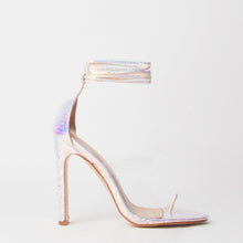Load image into Gallery viewer, Sarai Pink Snake Print Lace Up Perspex Sandals