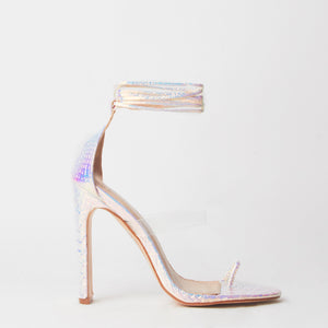 Sarai Pink Snake Print Lace Up Perspex Sandals
