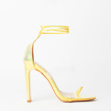 Load image into Gallery viewer, Sarai Yellow Snake Print Lace Up Perspex Sandals