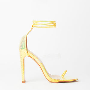 Sarai Yellow Snake Print Lace Up Perspex Sandals