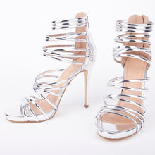 Load image into Gallery viewer, Sasha Silver Metallic Gladiator Sandals
