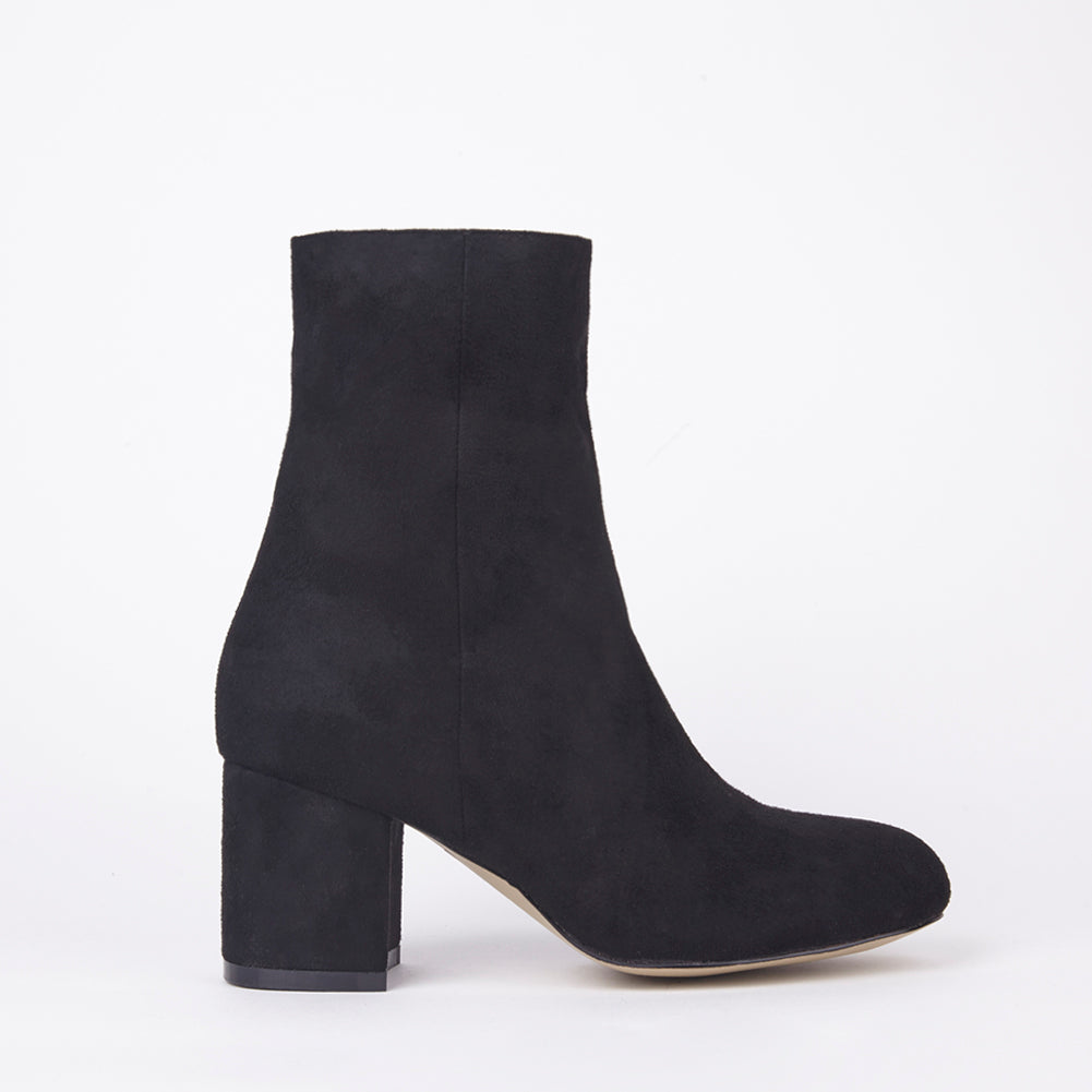 Saskia Black Suede Ankle Boots With Block Heel
