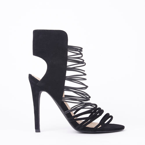 Scarlett Black Strappy Barely There High Heels