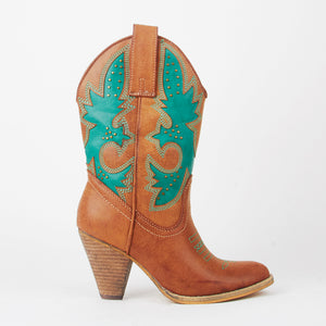 Jane Tan Colour Block Cowboy Calf Boots