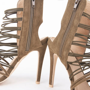 Scarlett Khaki Strappy Barely There High Heels