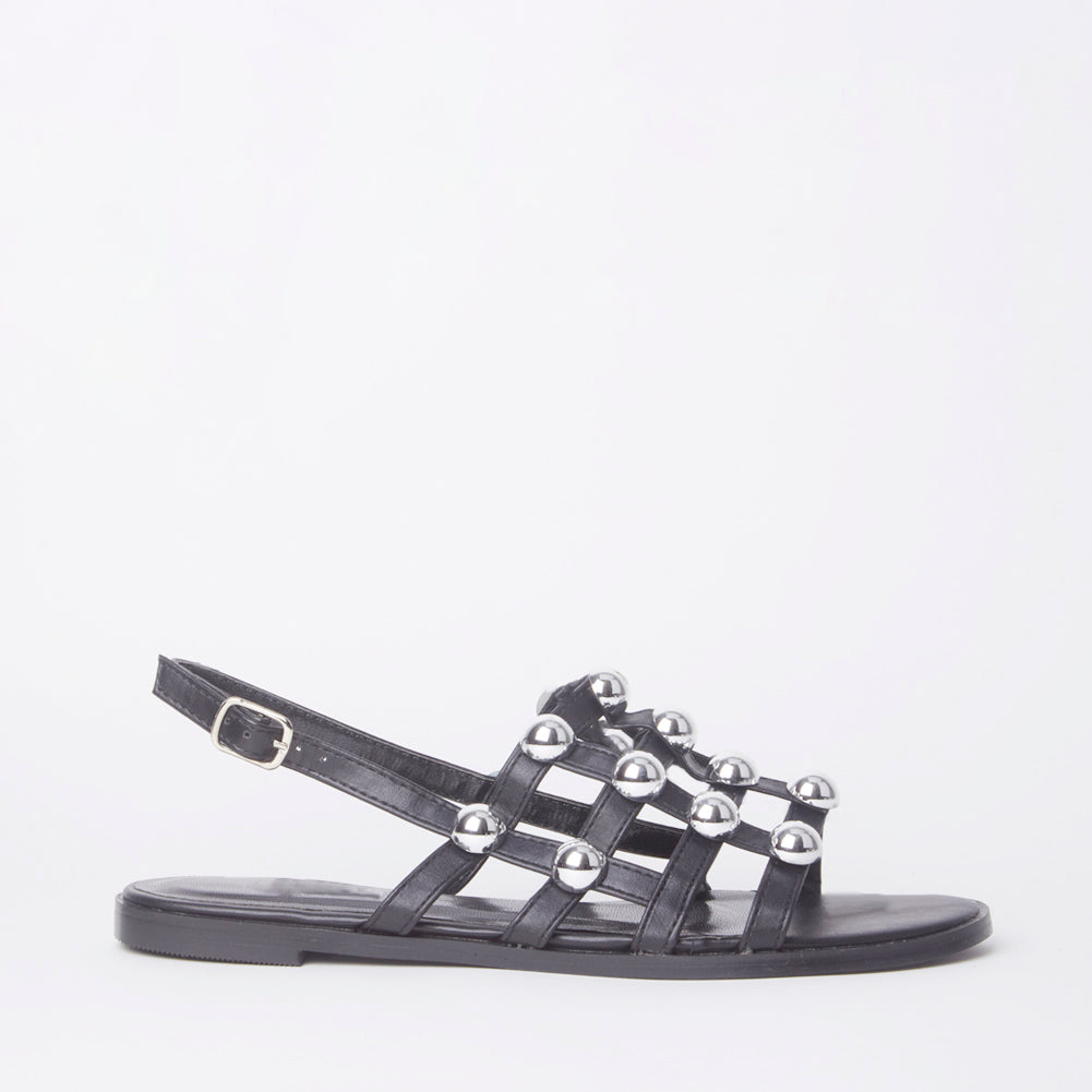 Selena Black Studded Slingback Sandals