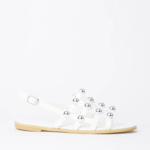 Selena White Studded Slingback Sandals