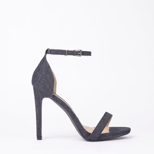 Shauna Barely There Strappy Black Denim High Heel Sandals