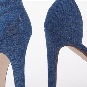 Shauna Barely There Strappy Dark Denim High Heel Sandals