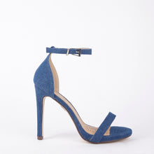 Load image into Gallery viewer, Shauna Barely There Strappy Dark Denim High Heel Sandals