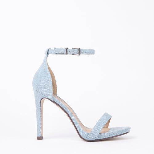 Shauna Barely There Strappy Light Denim High Heel Sandals