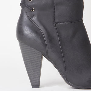 Corset Lace Detail Block Heel Black Faux Leather Knee High Boot
