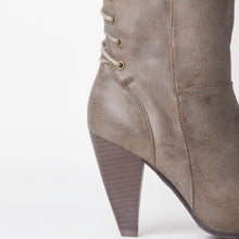 Load image into Gallery viewer, Corset Lace Detail Block Heel Taupe Faux Leather Knee High Boot