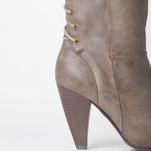 Corset Lace Detail Block Heel Taupe Faux Leather Knee High Boot