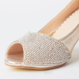 Simone Gold Crystal Kitten Heels