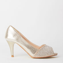 Load image into Gallery viewer, Simone Gold Crystal Kitten Heels
