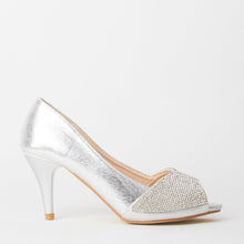Load image into Gallery viewer, Simone Silver Crystal Kitten Heels