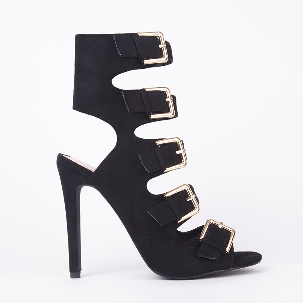 Sinita Black Faux Suede Buckle High Heels