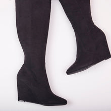 Load image into Gallery viewer, Sophia Black Knee High Wedge Boots