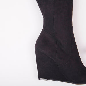 Sophia Black Knee High Wedge Boots