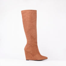 Load image into Gallery viewer, Sophia Tan Knee High Wedge Boots
