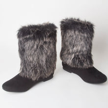 Load image into Gallery viewer, Stacey Black Faux Fur Ankle Boots