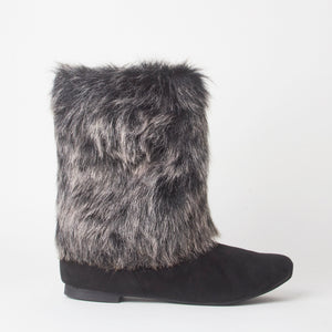 Stacey Black Faux Fur Ankle Boots