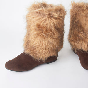 Stacey Brown Faux Fur Ankle Boots