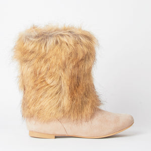 Stacey Beige Faux Fur Ankle Boots