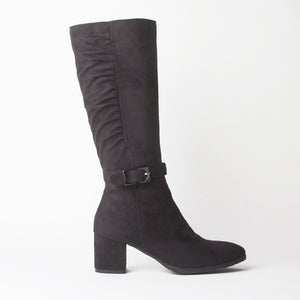 Steff Black Heeled Below The Knee Boots