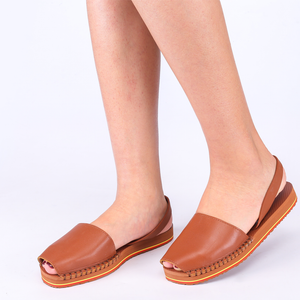 Balearic Summer Flat Sling Back Sandals In Tan Leather