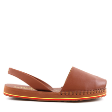 Load image into Gallery viewer, Balearic Summer Flat Sling Back Sandals In Tan Leather