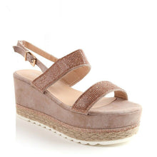Load image into Gallery viewer, Leena Flatform Wedge Sandals  In Blush