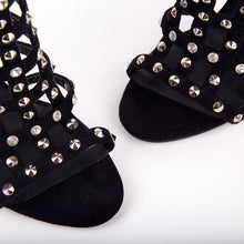 Load image into Gallery viewer, Tammy Black Stud Caged Heeled Sandals With Diamante Detail