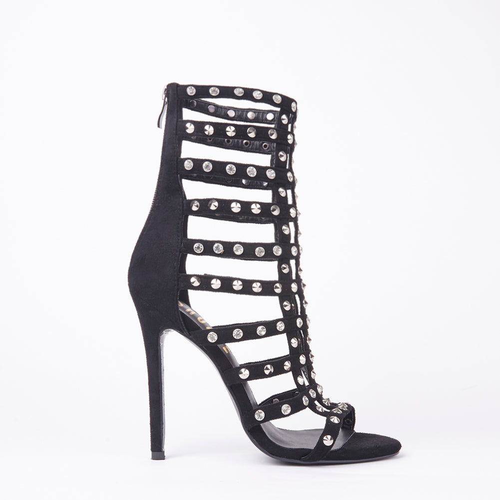 Tammy Black Stud Caged Heeled Sandals With Diamante Detail