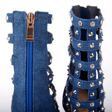 Load image into Gallery viewer, Tammy Denim Stud Caged Heeled Sandals With Diamante Detail