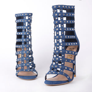 Tammy Denim Stud Caged Heeled Sandals With Diamante Detail