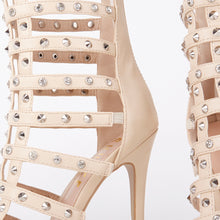 Load image into Gallery viewer, Tammy Nude Stud Caged Heeled Sandals With Diamante Detail
