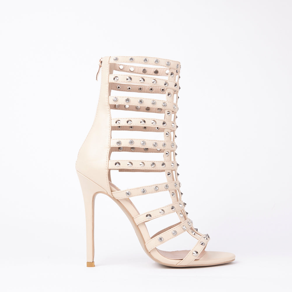 Tammy Nude Stud Caged Heeled Sandals With Diamante Detail