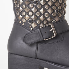 Load image into Gallery viewer, Taylor Black Flat Boots with Studded Detail